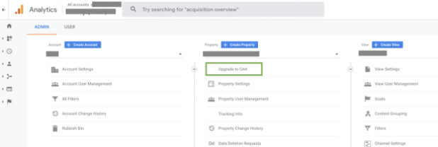 GA4 1 screenshot showing the upgrade to GA4 button in your Analytics account
