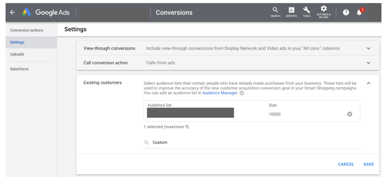 Google Ads Conversion settings