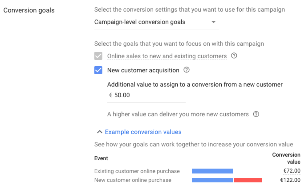 Smart Shopping conversion goals settings
